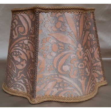 Fancy Square Lamp Shade Fortuny Fabric Apricot & Silvery Gold Campanelle Pattern Florentine Lampshade