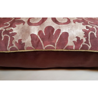 Fortuny Fabric Throw Pillow Cushion Cover Deep Burgundy & Gold Caravaggio Pattern