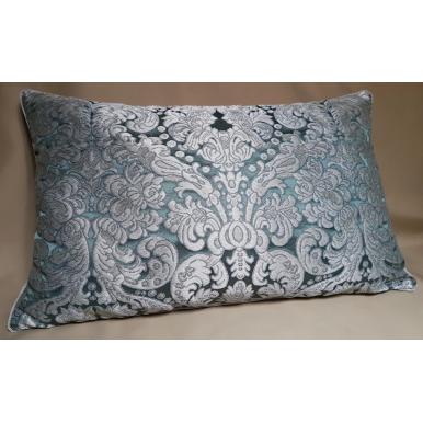 Lumbar Throw Pillow Cushion Cover Silk Brocatelle Rubelli Fabric Aqua Blue and Silver Tebaldo Pattern