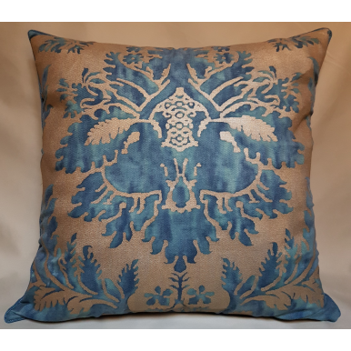 Fortuny Fabric Throw Pillow Cushion Cover Glicine Pattern (Blue) Green & Gold Texture