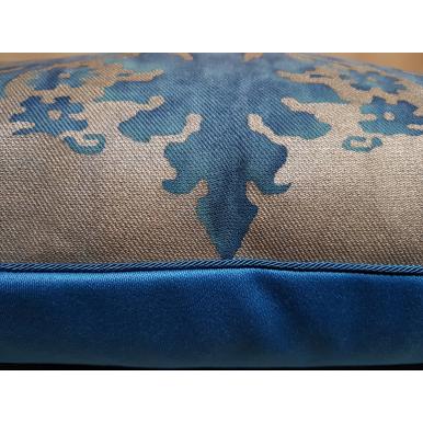Fodera per Cuscino in Tessuto Fortuny Glicine Azzurro e Oro