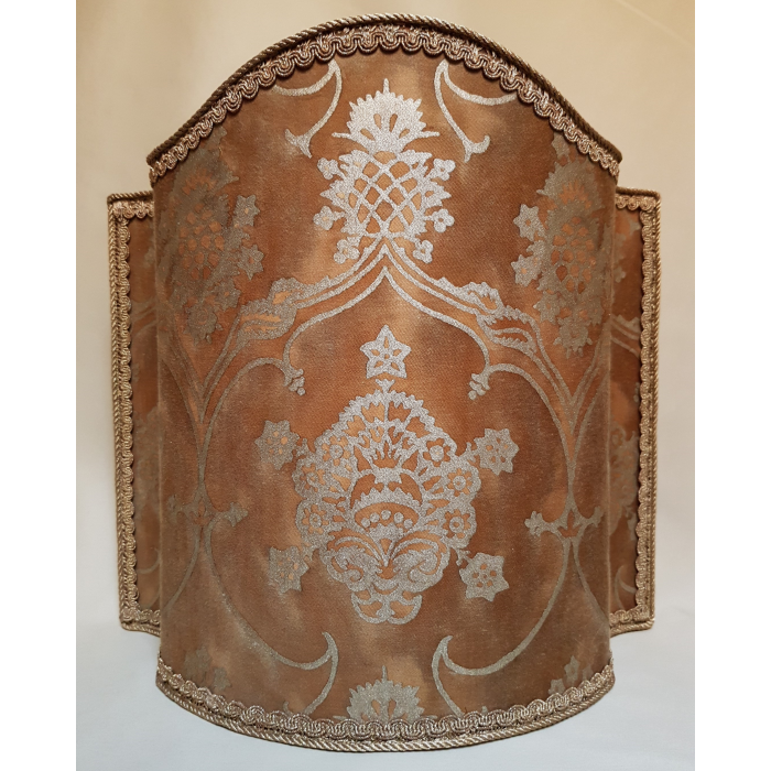 Venetian Lamp Shade in Fortuny Fabric Warm French Brown & Gold Veronese Pattern Half Lampshade