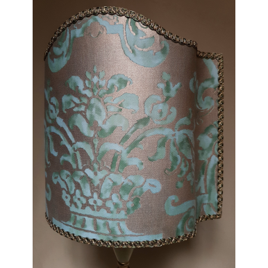 Venetian Lamp Shade Fortuny Fabric Peacock & Silvery Gold Carnavalet Pattern