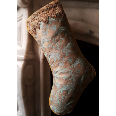 Luxury Christmas Stocking Fortuny Fabric Aquamarine & Silvery Gold Richelieu Pattern