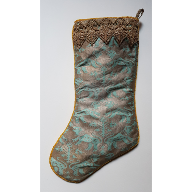 Luxury Christmas Stocking Fortuny Fabric Aquamarine & Silvery Gold Richelieu Pattern