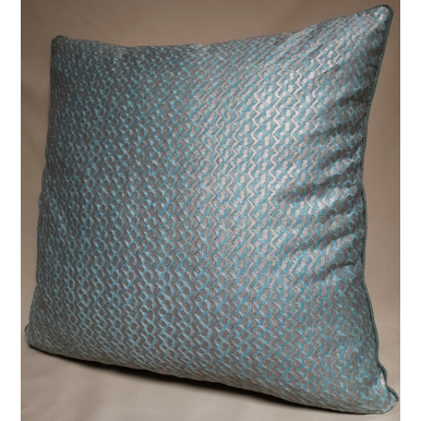 Throw Pillow Cushion Cover Fortuny Fabric Aquamarine & Silvery Gold Tapa Pattern