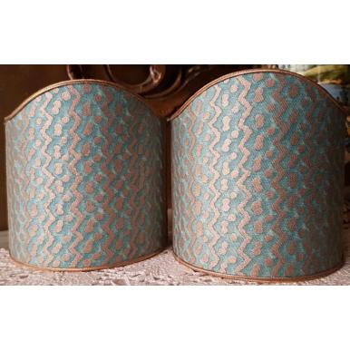 Ventolina per Applique in Tessuto Fortuny Tapa in Aquamarina e Oro