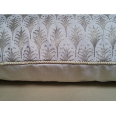 Lumbar Throw Pillow Case Fortuny Fabric Ivory & Gold Piumette Pattern