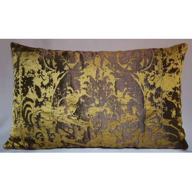 Lumbar Throw Pillow Cushion Cover Gold & Bronze Jacquard Rubelli Fabric Gritti Pattern