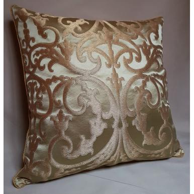 Green & Gold Silk Jacquard Serlio Rubelli Fabric Throw Pillow Cushion Cover