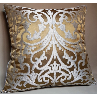 Ochre & Silver Silk Jacquard Serlio Rubelli Fabric Throw Pillow Cushion Cover