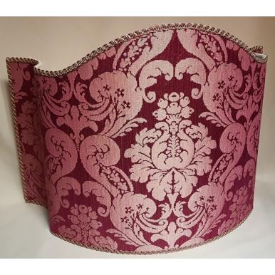 Floor Lamp Shade in Rubelli Silk Damask Fabric Cardinal Ruzante Pattern Half Lampshade