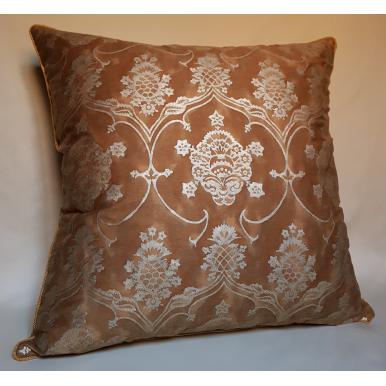 Fodera per Cuscino in Tessuto Fortuny Veronese Marrone e Oro