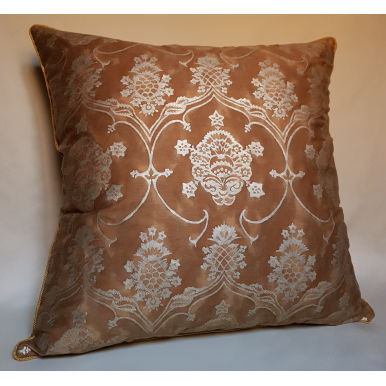 Throw Pillow Cushion Cover Fortuny Fabric Warm French Brown & Gold Veronese Pattern