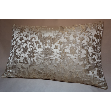 Ivory and Gold Silk Jacquard Les Indes Galantes Rubelli Fabric Throw Pillow Cushion Cover