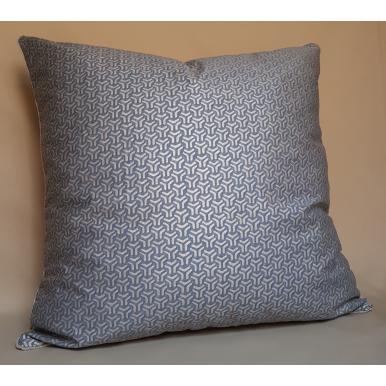 Fodera per Cuscino in Tessuto Fortuny Bivio Blu-Grigio e Argento