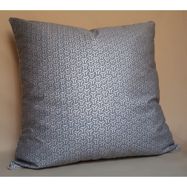 Throw Pillow Cushion Cover Fortuny Fabric Blue-Grey & Silver Bivio Pattern