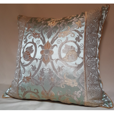 Throw Pillow Cushion Cover Jade Green Silk Lampas Rubelli Fabric Vignola Pattern