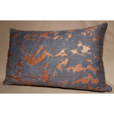 Lumbar Throw Pillow Cushion Cover Fortuny Fabric Black, Grey & Copper Marmo Pattern