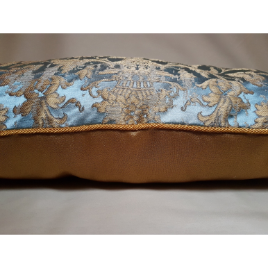 Sky Blue & Gold Silk Jacquard Les Indes Galantes Rubelli Fabric Throw Pillow Cushion Cover