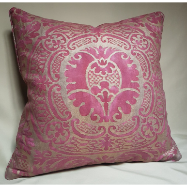 Throw Pillow Cushion Cover Fortuny Fabric Orsini Red & Gold Texture