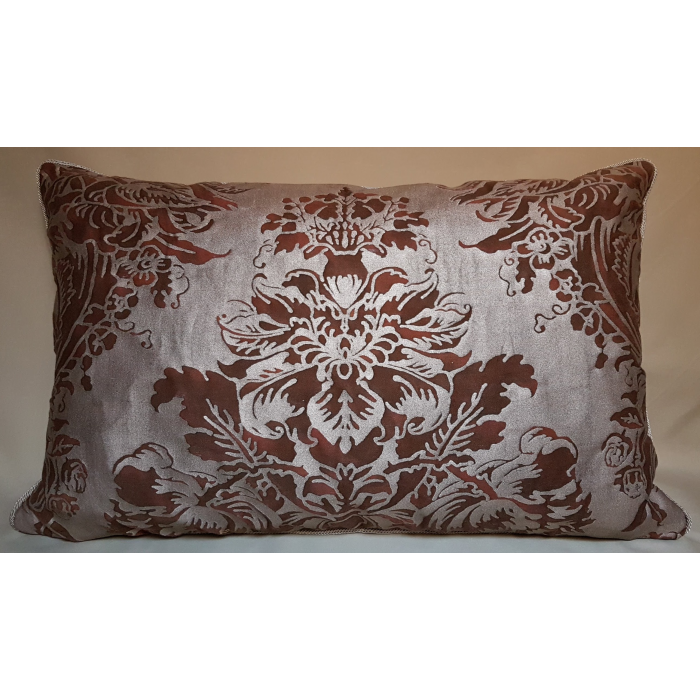 Lumbar Throw Pillow Cushion Cover Fortuny Fabric Plum & Silvery Gold Dandolo Pattern