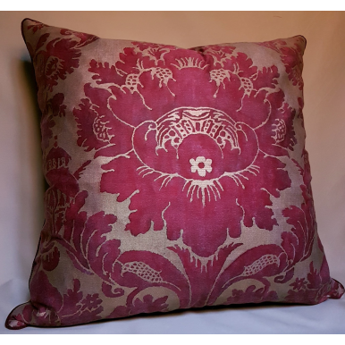 Fortuny Fabric Throw Pillow Cushion Cover Red & Gold Vivaldi Pattern
