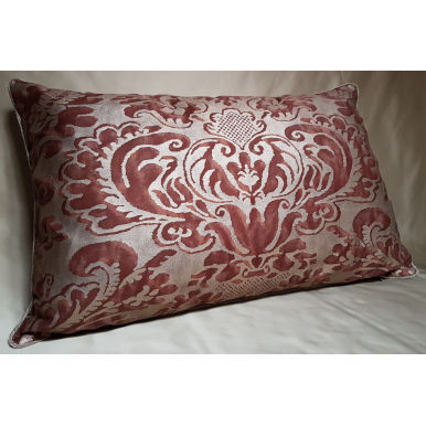Lumbar Throw Pillow Cushion Cover Fortuny Fabric Deep Burgundy & Gold Sevigne Pattern