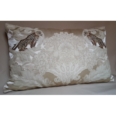 Rubelli Sandokan Ivory Silk Damask Fabric Throw Pillow Cushion Cover