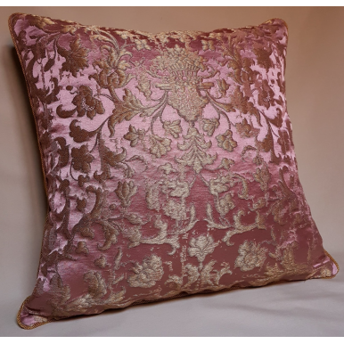 Pink and Gold Silk Jacquard Rubelli Fabric Throw Pillow Cushion Cover Les Indes Galantes Pattern
