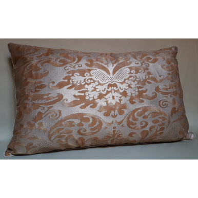 Lumbar Throw Pillow Cushion Cover Fortuny Fabric Warm French Brown & Gold Sevigne Pattern