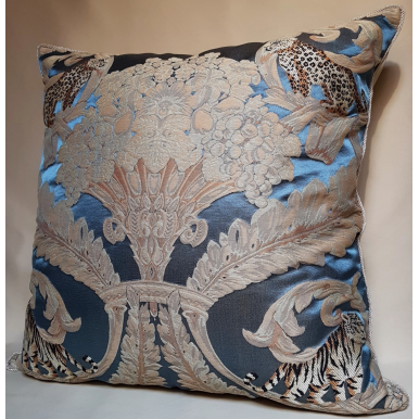 Rubelli Sandokan Blue Silk Damask Fabric Throw Pillow Cushion Cover