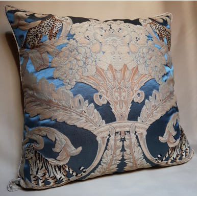 Rubelli Sandokan Blue Silk Damask Fabric Throw Pillow Cushion Cover