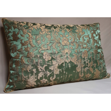 Green & Gold Silk Jacquard Les Indes Galantes Rubelli Fabric Throw Pillow Cushion Cover