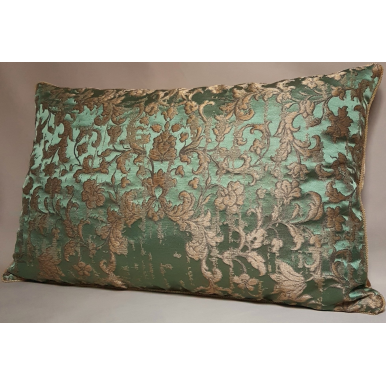 Fodera per Cuscino in Tessuto Jacquard di Seta Rubelli Les Indes Galantes Verde e Oro