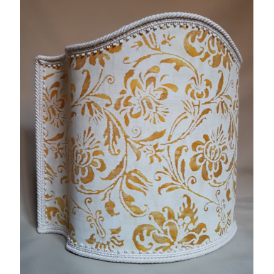 Venetian Lamp Shade in Fortuny Fabric Yellow & White Cimarosa Half Lampshade