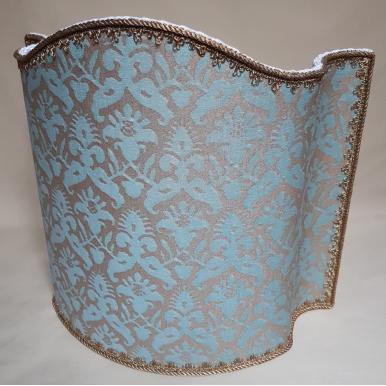 Venetian Lamp Shade Fortuny Fabric Aquamarine & Silvery Gold Delfino Pattern