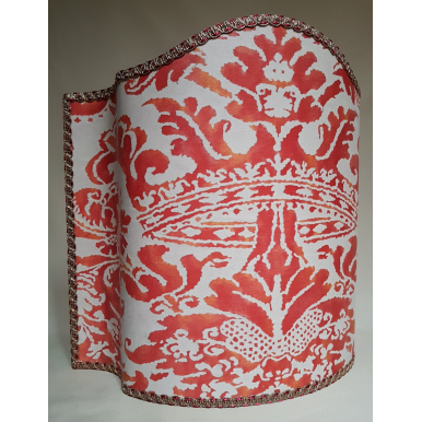 Venetian Lamp Shade Fortuny Fabric Corone Red & Beige Half Lampshade