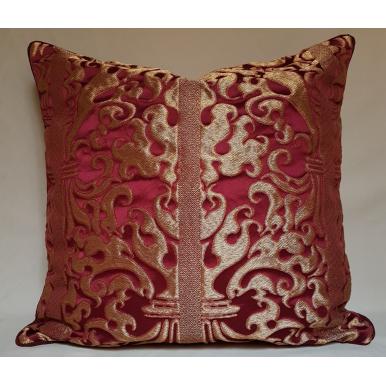 Fodera per Cuscino in Lampasso di Seta Rubelli Belisario Rosso Rubino e Oro