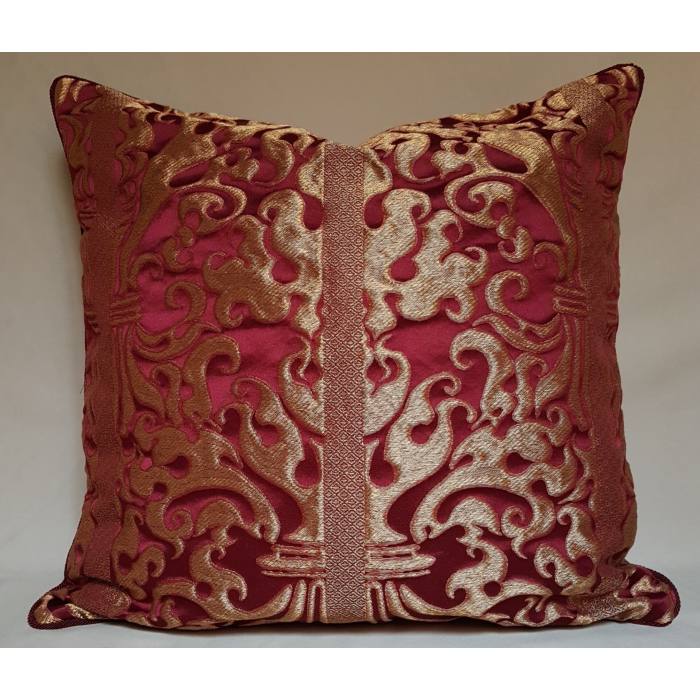 Lumbar Throw Pillow Cushion Cover Ruby Red and Gold Silk Lampas Rubelli Fabric Belisario Pattern