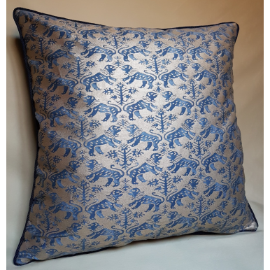 Throw Pillow Cushion Cover in Fortuny Fabric Indigo Blue & Silvery Gold Richelieu Pattern