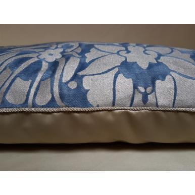 Fodera per Cuscino in Tessuto Fortuny Melagrana Blu e Argento