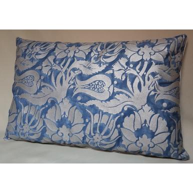 Throw Pillow Cushion Cover Fortuny Fabric Midnight Blue & Silver Melagrana Pattern