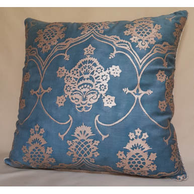 Throw Pillow Cushion Cover Fortuny Fabric Blue & Silvery Gold Veronese Pattern