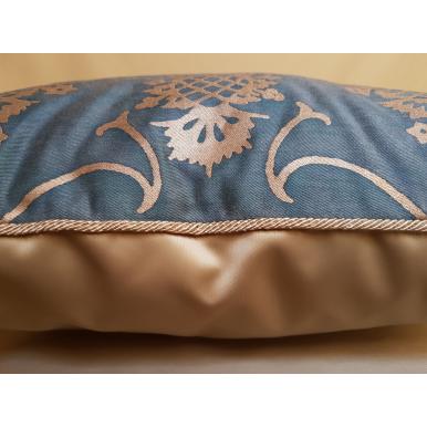 Fodera per Cuscino in Tessuto Fortuny Veronese Blu e Oro