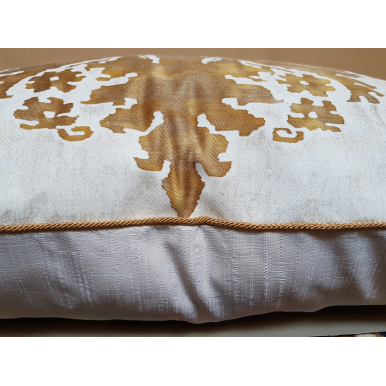 Fortuny Fabric Throw Pillow Cushion Cover in Caramel & White Glicine Pattern