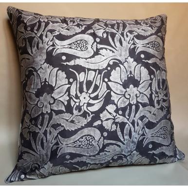 Throw Pillow Cushion Cover Fortuny Fabric Black & Silver Melagrana Pattern