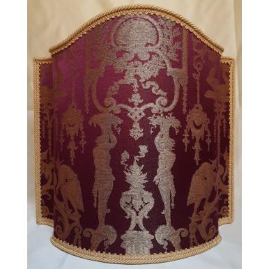 Venetian Lampshade in Rubelli Silk Lampas Brocade Fabric Amethyst Aida Pattern Half Lamp Shade