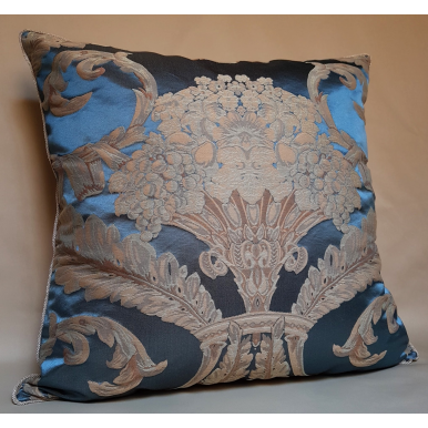 Rubelli Labuan Blue Silk Damask Fabric Throw Pillow Cushion Cover