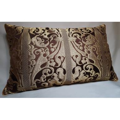 Lumbar Throw Pillow Brown and Gold Silk Lampas Rubelli Fabric Belisario Pattern Cushion Cover